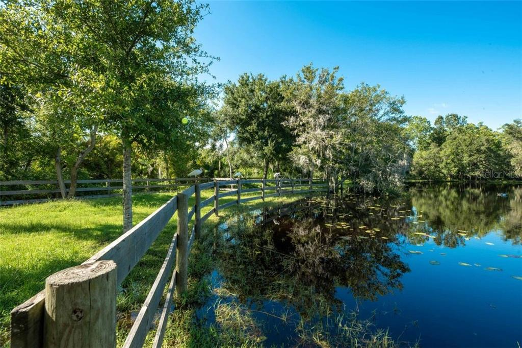 A private path leads around the entire pond.  A pair of Red Shouldered Hawks nested in a tree in the back in the spring of 2018 - Single Family Home for sale at 7339 Hawkins Rd, Sarasota, FL 34241 - MLS Number is D6102762