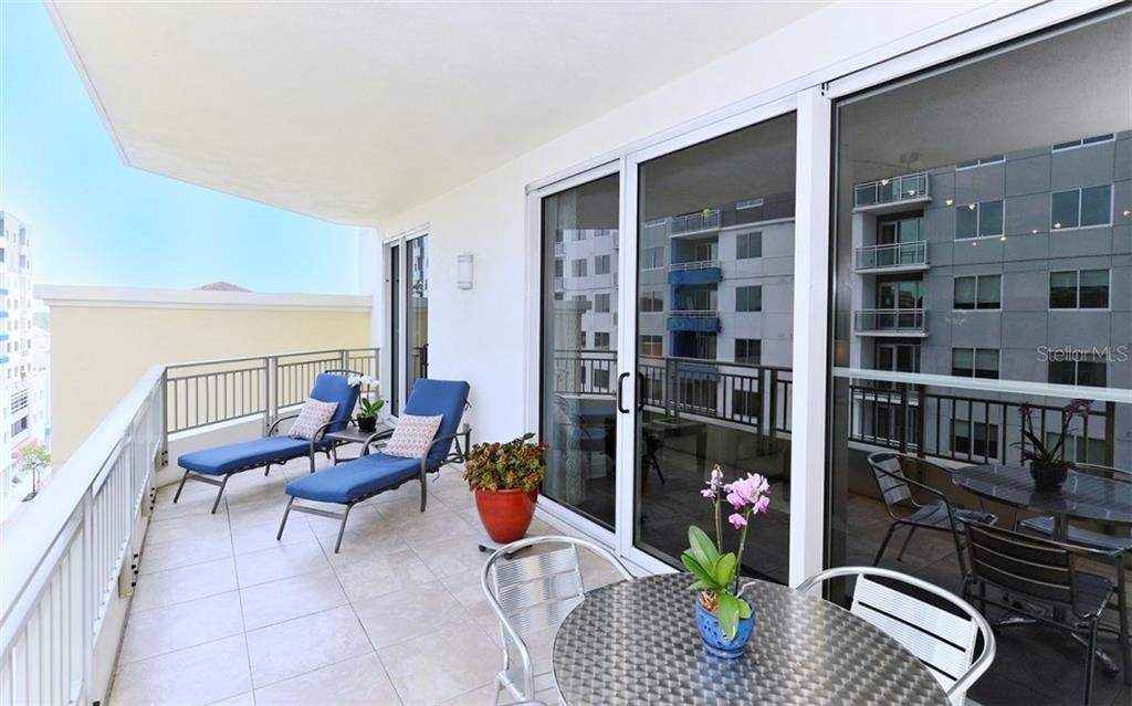 LARGE EXPANSIVE BALCONY, WITH TILED FLOOR. - Condo for sale at 100 Central Ave #h716, Sarasota, FL 34236 - MLS Number is A4193586