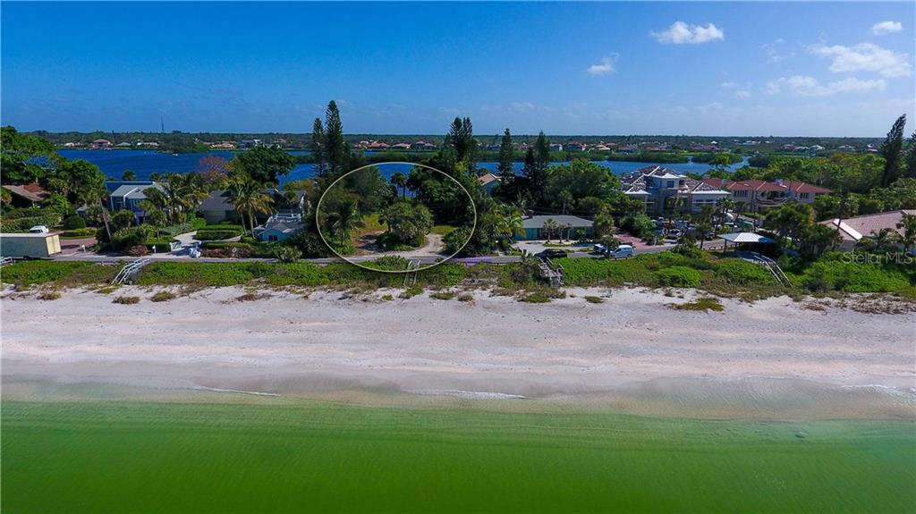Aerial view showing off the bay side - Vacant Land for sale at 3220 Casey Key Rd, Nokomis, FL 34275 - MLS Number is A4197366