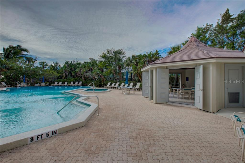 Pool and heated spa with cabana - Condo for sale at 5880 Midnight Pass Rd #610, Sarasota, FL 34242 - MLS Number is A4204670