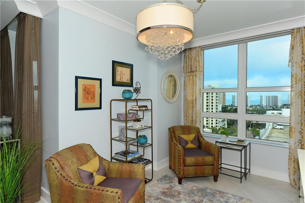 Den or Dining Space with city and water views. - Condo for sale at 1350 Main St #1106, Sarasota, FL 34236 - MLS Number is A4209424