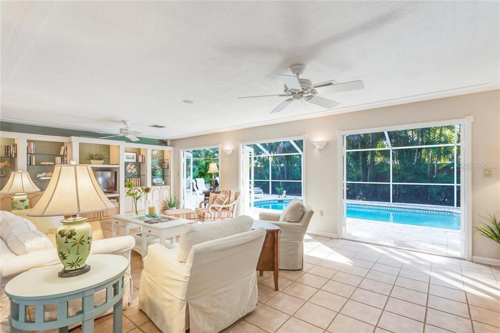 Lanai and swimming pool access from living room - Single Family Home for sale at 5634 Cape Leyte Dr, Sarasota, FL 34242 - MLS Number is A4209556