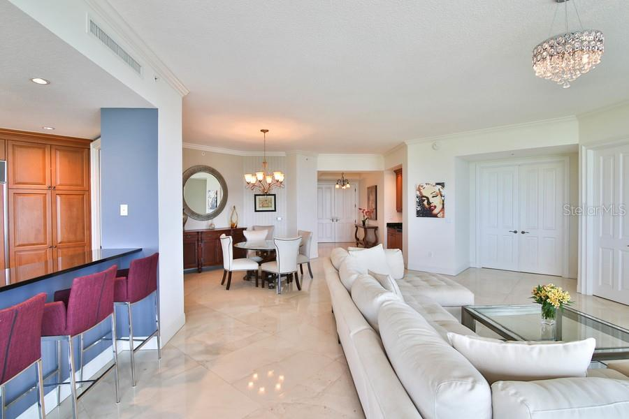 Open floor plan makes for great entertaining. - Condo for sale at 1300 Benjamin Franklin Dr #507, Sarasota, FL 34236 - MLS Number is A4403882