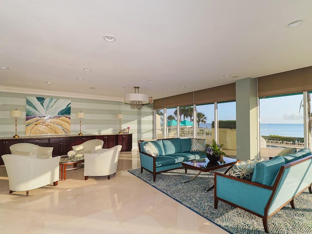L'Elegance Lobby Overlooking Pool and Beach - Condo for sale at 1800 Benjamin Franklin Dr #b409, Sarasota, FL 34236 - MLS Number is A4408201