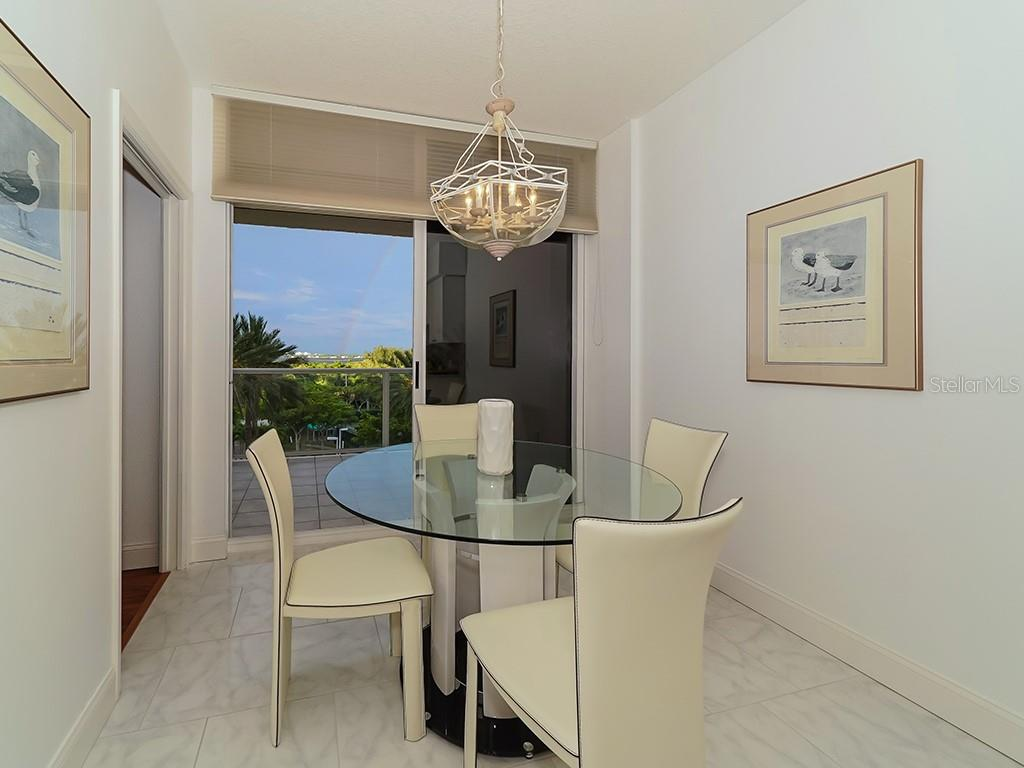 Breakfast Area in Kitchen - Access to Bay Terrace - Condo for sale at 1800 Benjamin Franklin Dr #b409, Sarasota, FL 34236 - MLS Number is A4408201