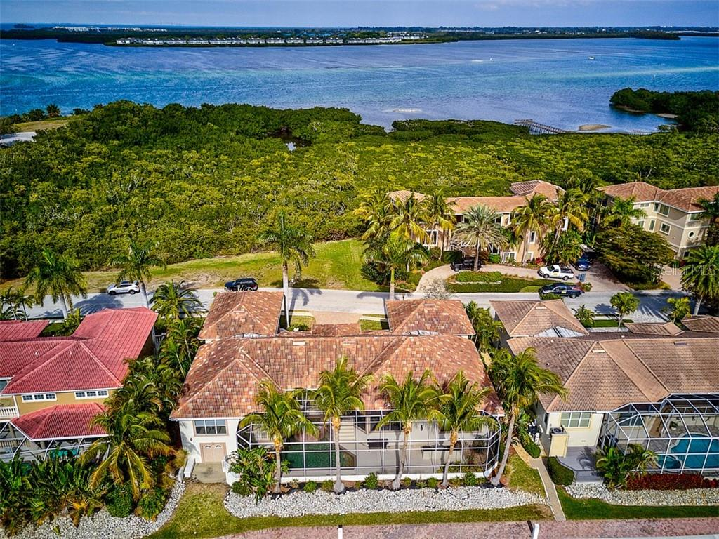 Aerial with Beautiful Water Views - Single Family Home for sale at 12518 Baypointe Ter, Cortez, FL 34215 - MLS Number is A4425873