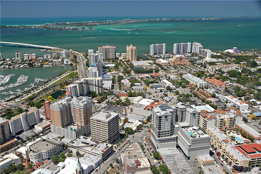 Aerial view of 1350 Main and downtown Sarasota - Condo for sale at 1350 Main St #1201, Sarasota, FL 34236 - MLS Number is A4427507