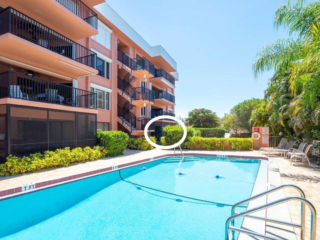 Swimming pool is just steps from your back door, but far enough to allow privacy - Condo for sale at 131 Garfield Dr #1b, Sarasota, FL 34236 - MLS Number is A4432013