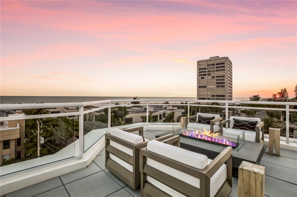 Warm up the evening with your Roof Top Firepit. - Condo for sale at 301 Beach Rd #301-1, Sarasota, FL 34242 - MLS Number is A4438015
