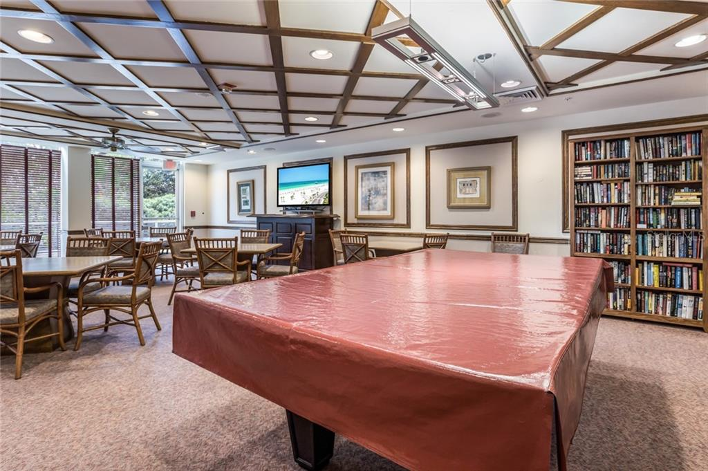 Building Library and Billiard Room. - Condo for sale at 1800 Benjamin Franklin Dr #b408, Sarasota, FL 34236 - MLS Number is A4444789