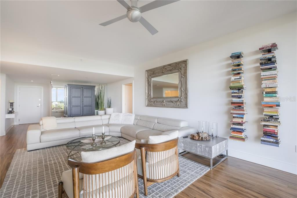 Living and Dining. - Condo for sale at 1800 Benjamin Franklin Dr #b408, Sarasota, FL 34236 - MLS Number is A4444789