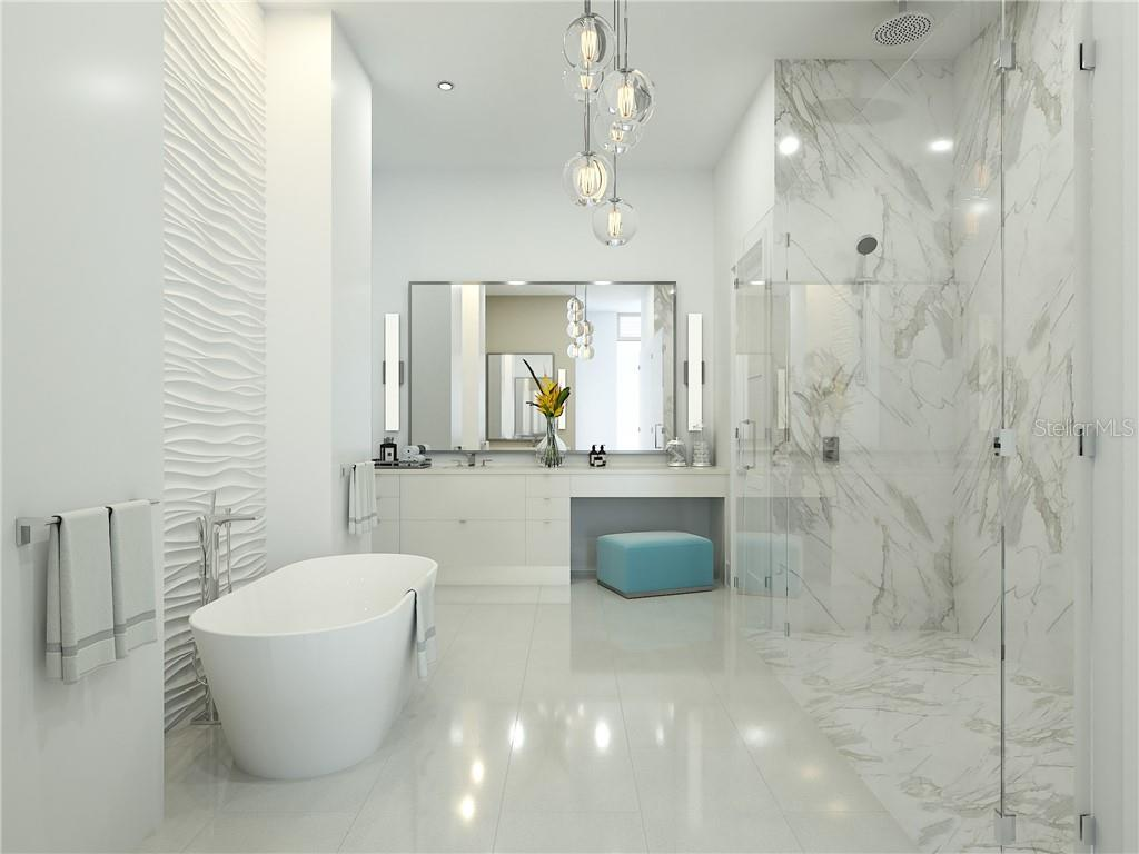 Pamper your self daily in the sumptuous owner's Bath with curb less shower, soaking tub, dual vanities and 2 water closets. - Condo for sale at 605 S Gulfstream Ave #Ph18, Sarasota, FL 34236 - MLS Number is A4458982