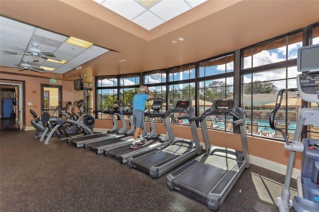 Fitness Center treadmills with a view of the pool. - Villa for sale at 4590 Samoset Dr, Sarasota, FL 34241 - MLS Number is A4471881