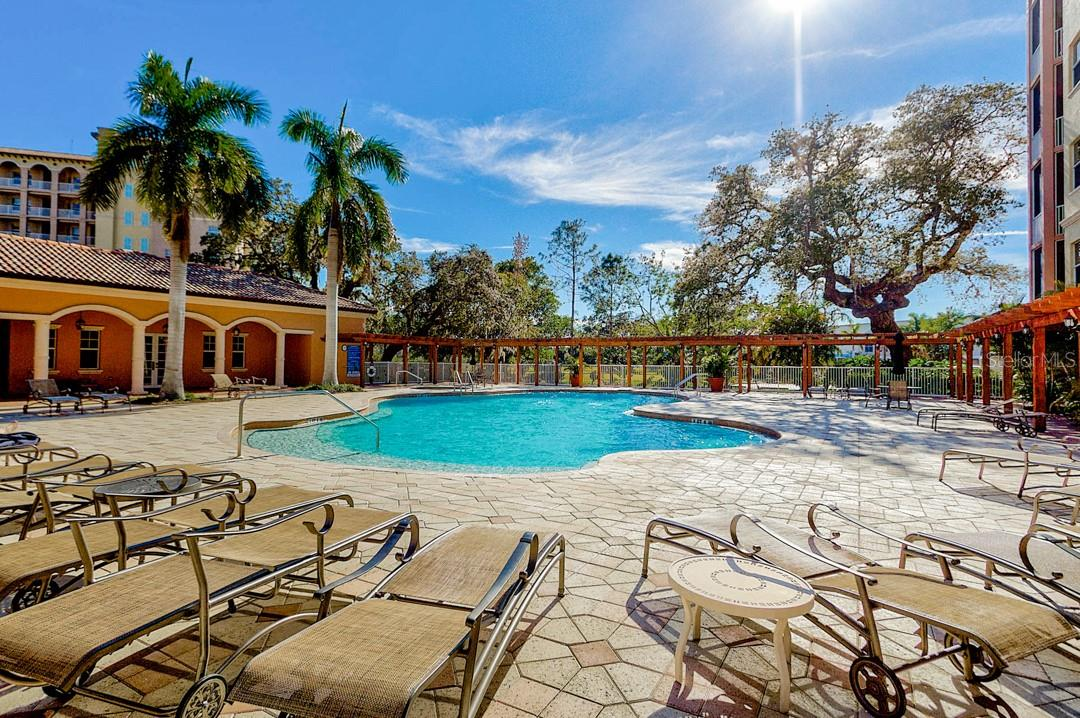 Resort style pool and amenities - Condo for sale at 5591 Cannes Cir #506, Sarasota, FL 34231 - MLS Number is A4484243