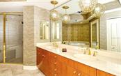 Master bath with walk in shower and dual sinks - Condo for sale at 50 Central Ave #14b, Sarasota, FL 34236 - MLS Number is A4487974