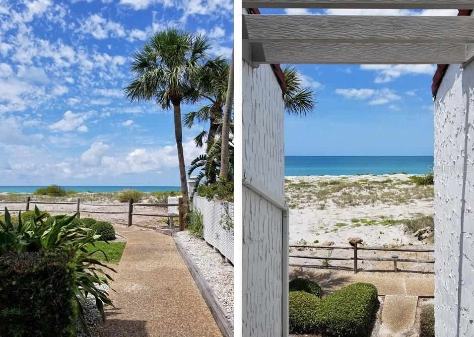 Pathway leading to the entrance of Unit 67 - view from the front door of Unit 67.... - Condo for sale at 500 Park Blvd S #67, Venice, FL 34285 - MLS Number is N6100360
