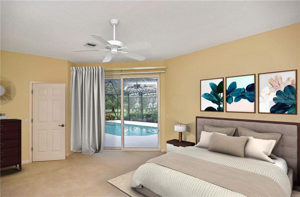 Bedroom with sliders to pool - Single Family Home for sale at 2156 Muskogee Trl, Nokomis, FL 34275 - MLS Number is N6101745