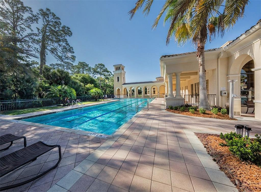 Community lap pool - Single Family Home for sale at 110 Martellago Dr, North Venice, FL 34275 - MLS Number is N6103159