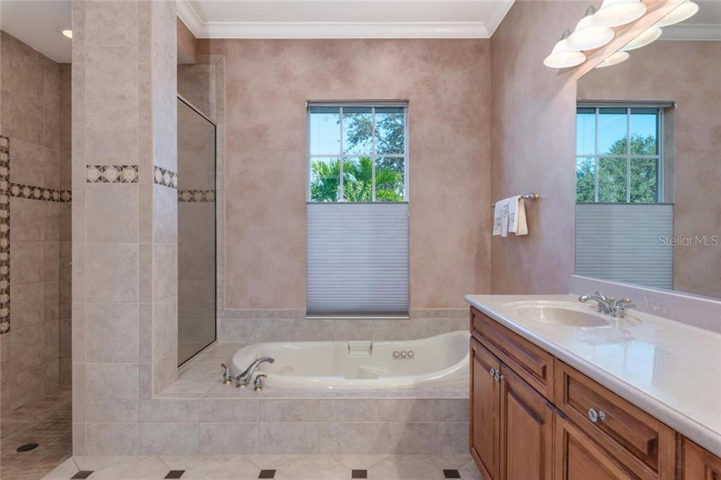 Master bath with jacuzzi/spa tub, Roman shower, dual siinks, decorative tiles and maple designer cabinets - Single Family Home for sale at 821 Adonis Pl, Venice, FL 34292 - MLS Number is N6104303